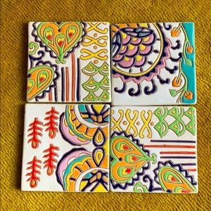 St of 6 Anthropologie Tile Coasters